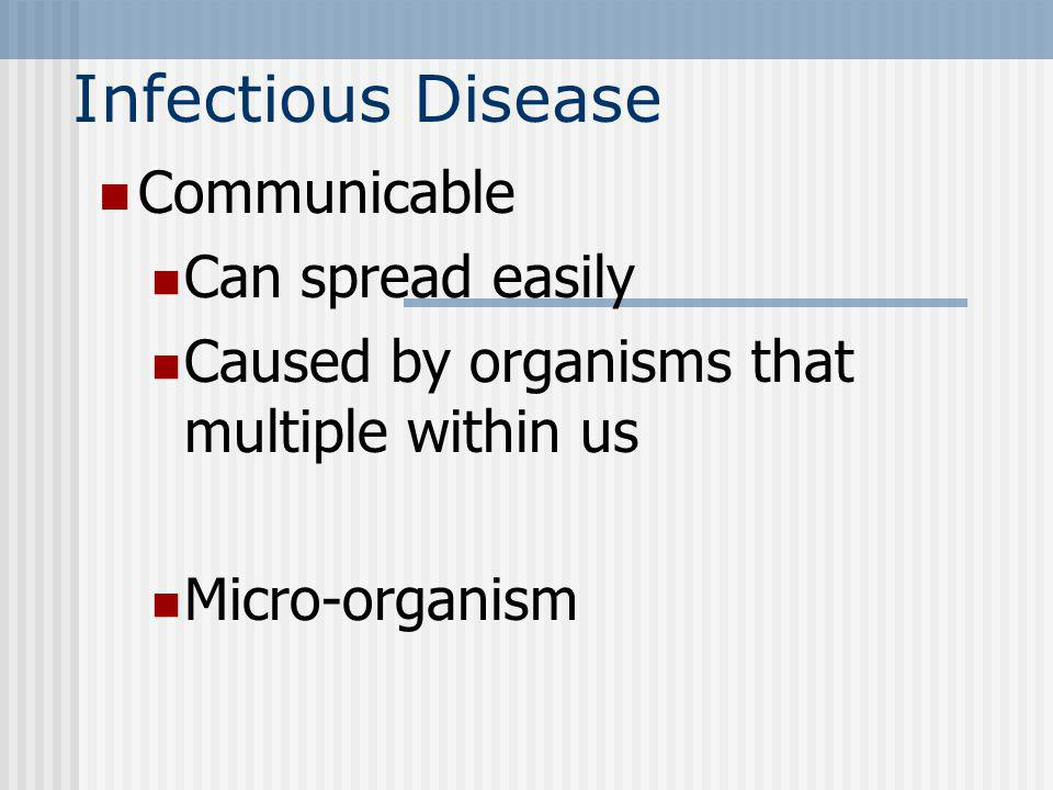 Infectious Disease Communicable Can spread easily