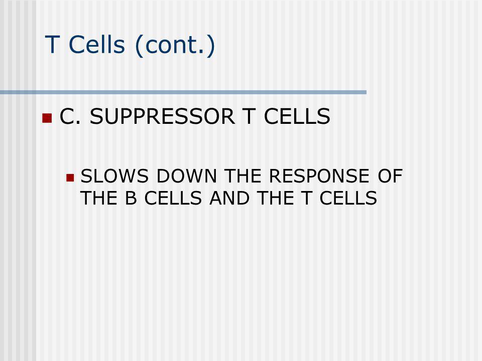 T Cells (cont.) C. SUPPRESSOR T CELLS