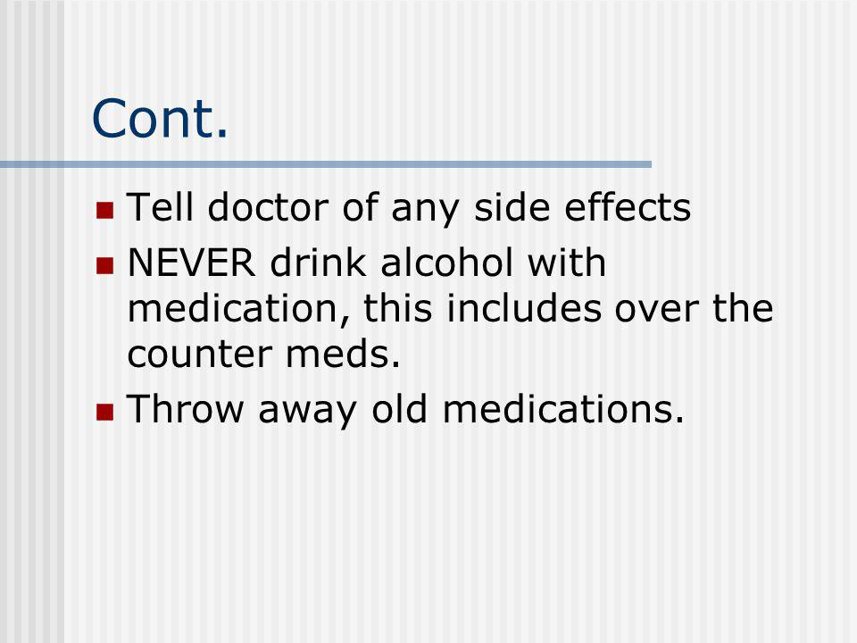 Cont. Tell doctor of any side effects