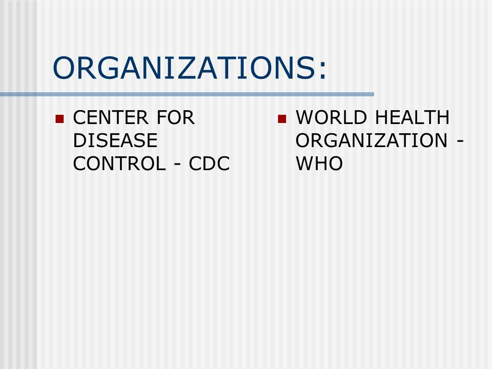 ORGANIZATIONS: CENTER FOR DISEASE CONTROL - CDC