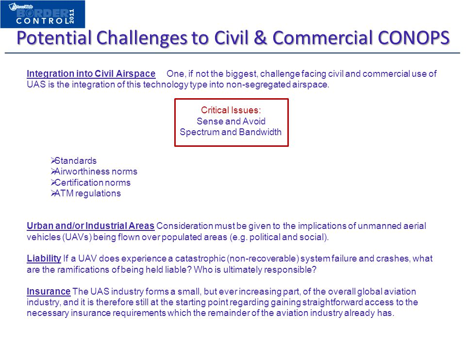 Potential Challenges to Civil & Commercial CONOPS