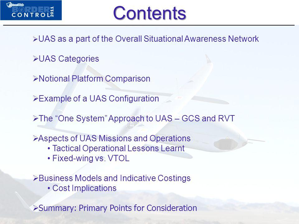Contents UAS Categories Notional Platform Comparison