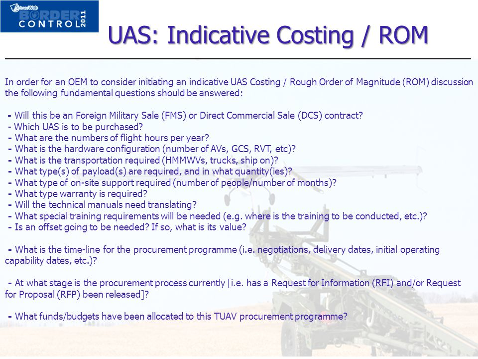 UAS: Indicative Costing / ROM