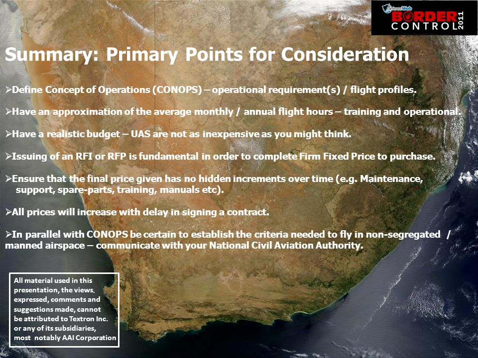 Summary: Primary Points for Consideration