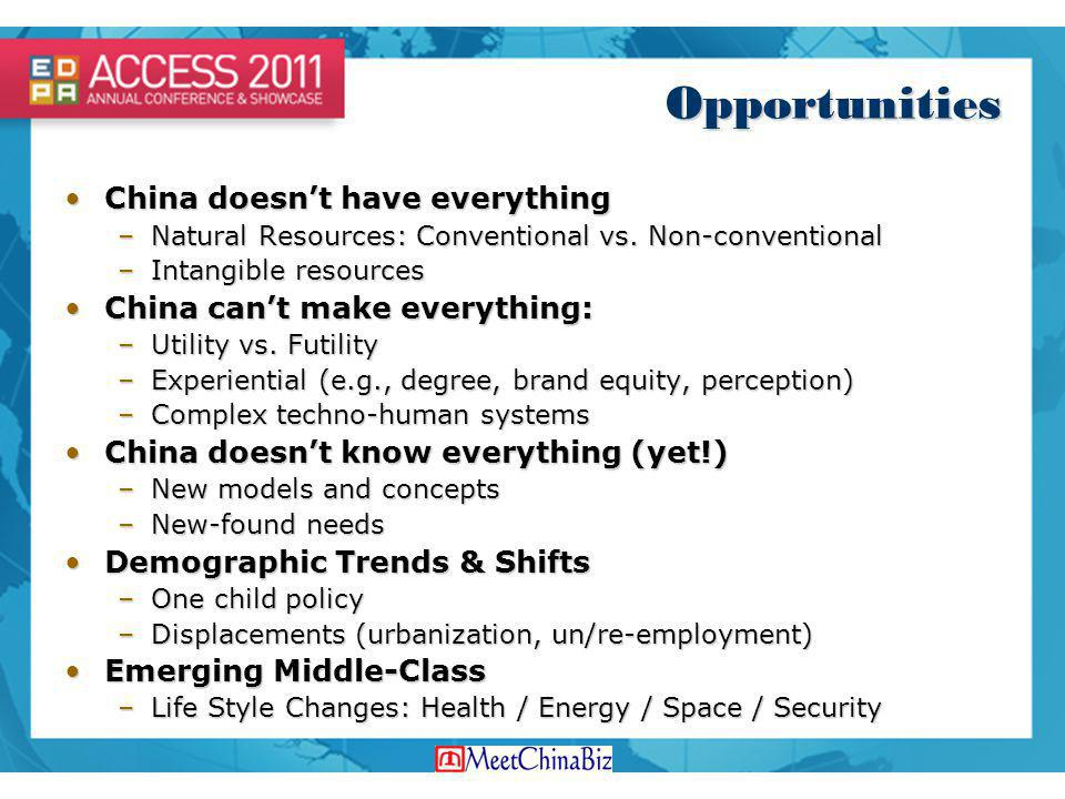 Opportunities China doesn't have everything