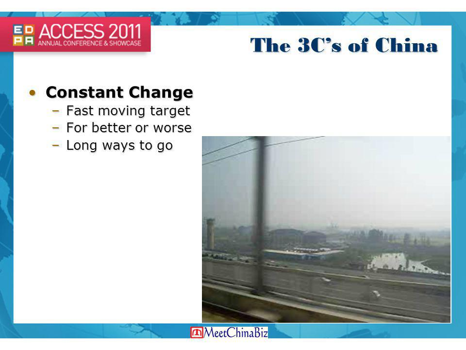 The 3C's of China Constant Change Fast moving target