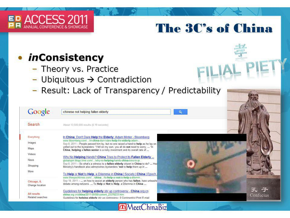孝 Filial Piety The 3C's of China inConsistency Theory vs. Practice