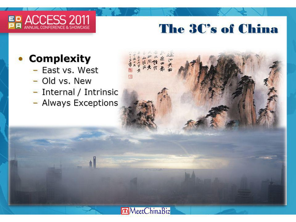 The 3C's of China Complexity East vs. West Old vs. New