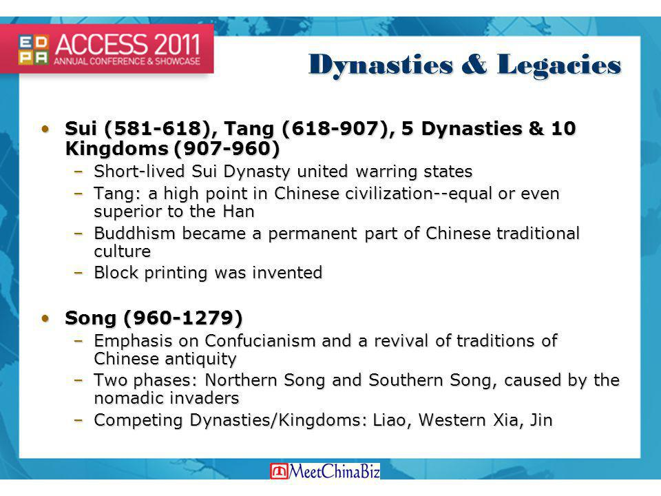 Dynasties & Legacies Sui (581-618), Tang (618-907), 5 Dynasties & 10 Kingdoms (907-960) Short-lived Sui Dynasty united warring states.