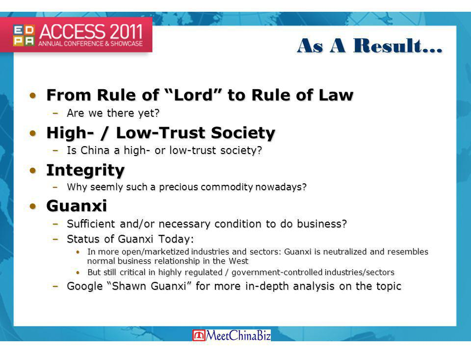As A Result… From Rule of Lord to Rule of Law