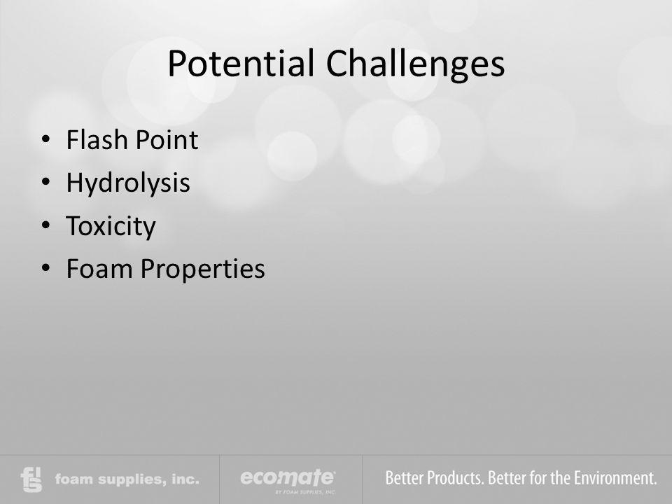 Potential Challenges Flash Point Hydrolysis Toxicity Foam Properties