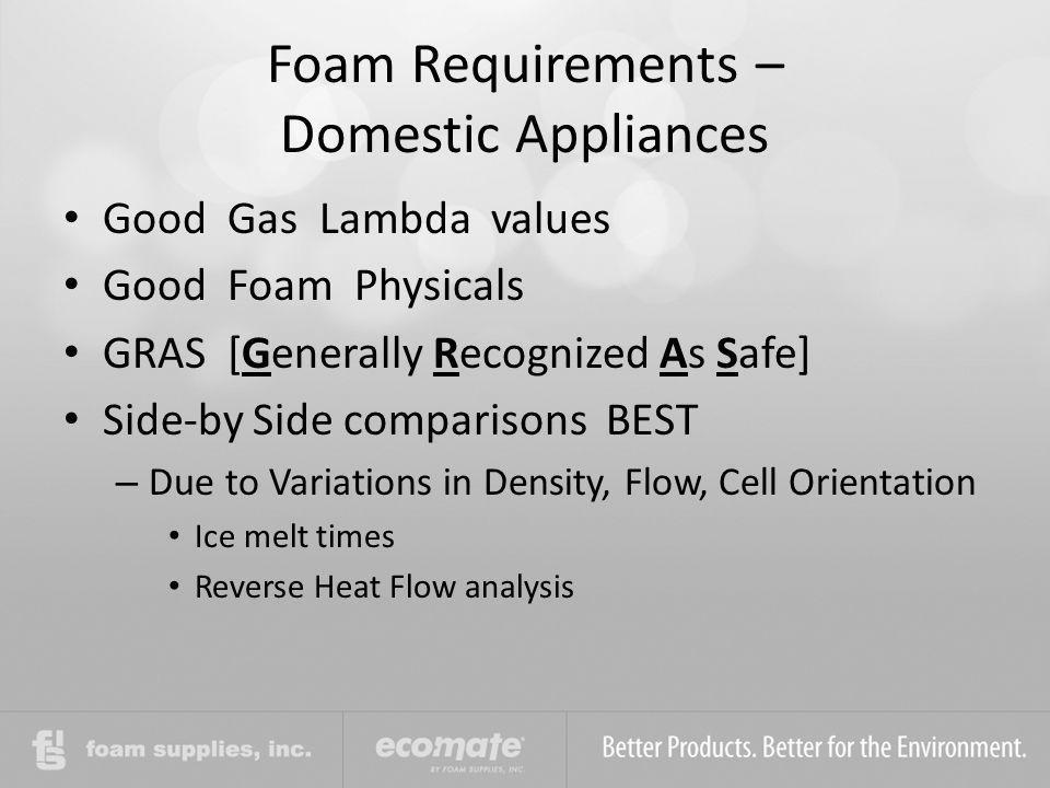 Foam Requirements – Domestic Appliances