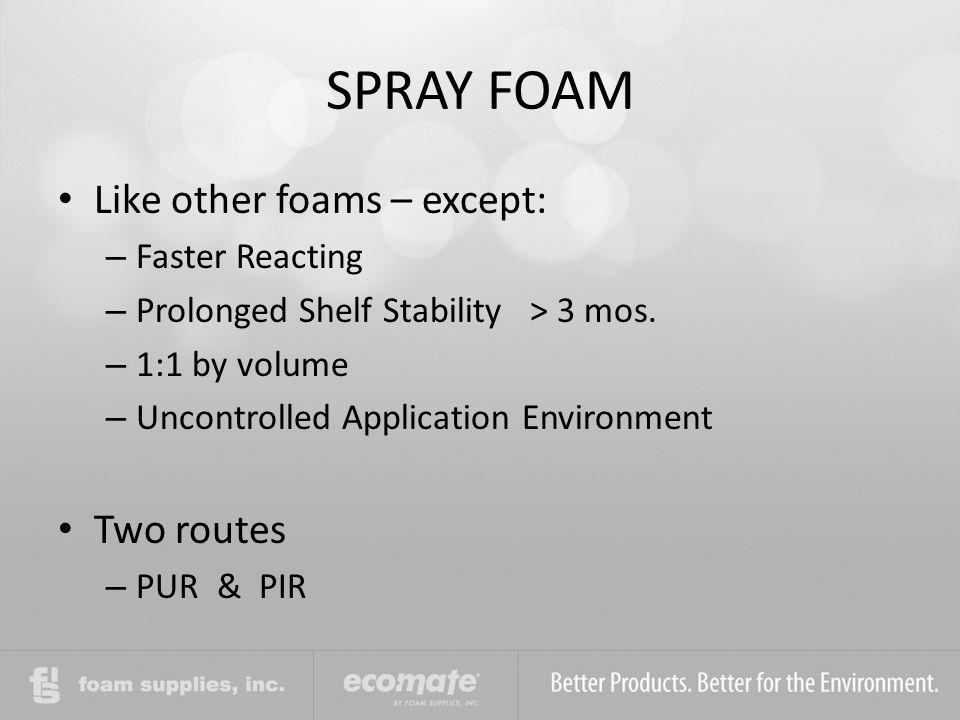 SPRAY FOAM Like other foams – except: Two routes Faster Reacting