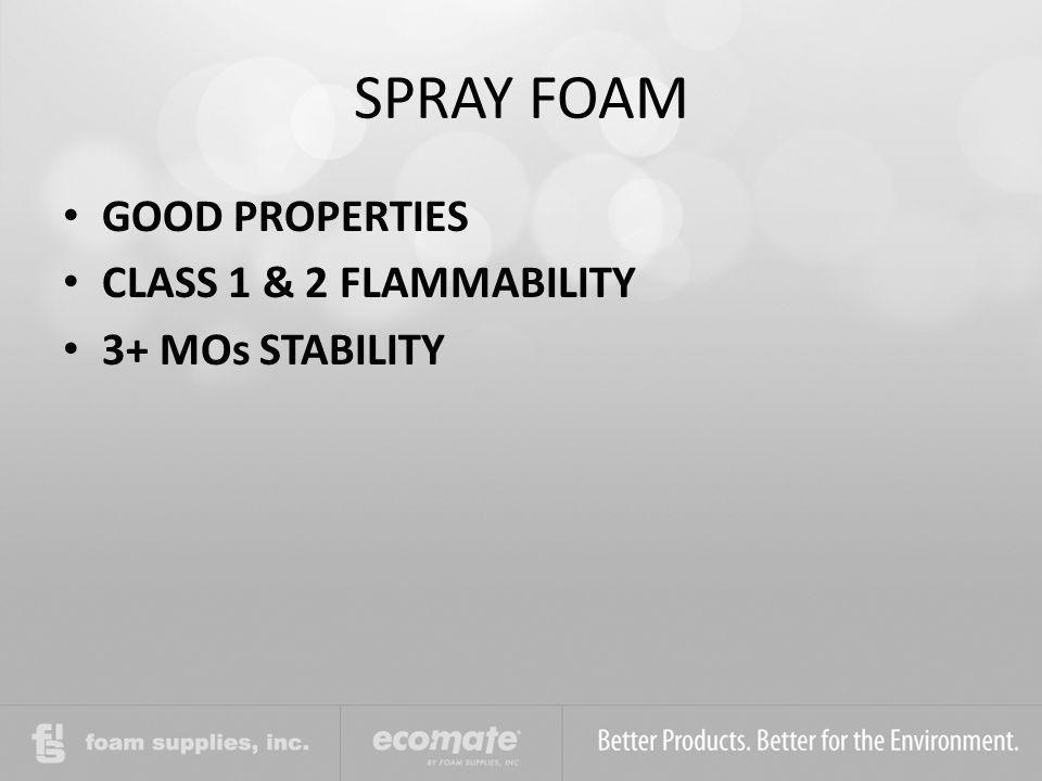 SPRAY FOAM GOOD PROPERTIES CLASS 1 & 2 FLAMMABILITY 3+ MOs STABILITY