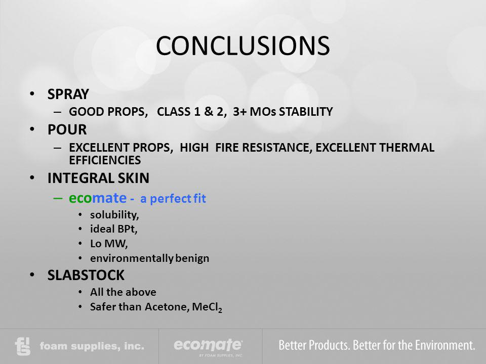 CONCLUSIONS SPRAY POUR INTEGRAL SKIN ecomate - a perfect fit SLABSTOCK