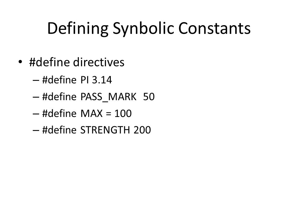 Defining Synbolic Constants