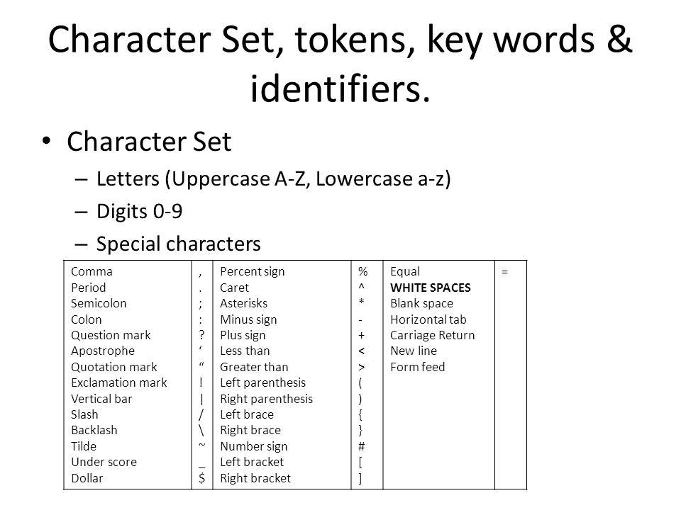Character Set, tokens, key words & identifiers.