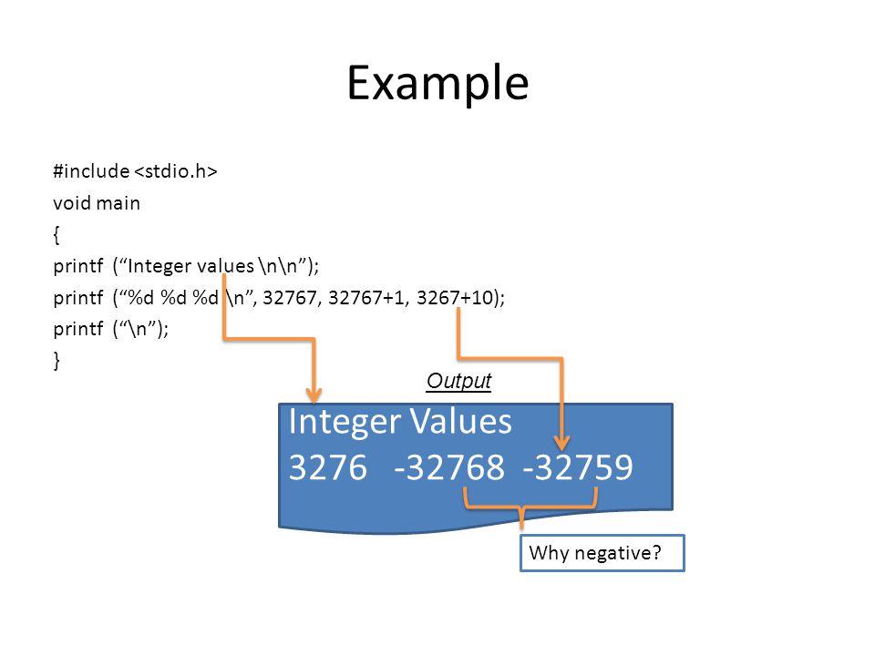 Example Integer Values 3276 -32768 -32759