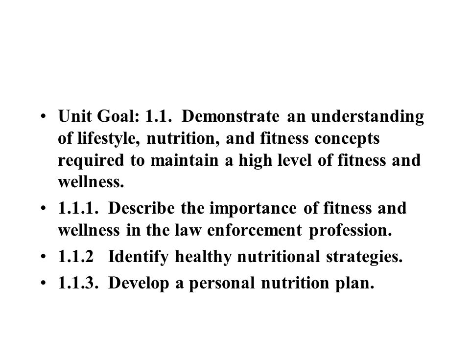 Unit Goal: 1.1. Demonstrate an understanding of lifestyle, nutrition, and fitness concepts required to maintain a high level of fitness and wellness.