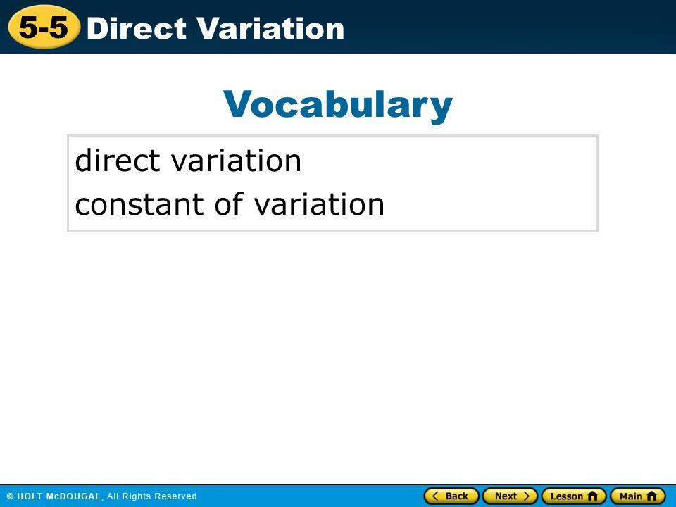 Vocabulary direct variation constant of variation