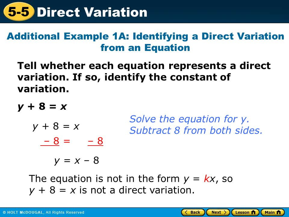 Additional Example 1A: Identifying a Direct Variation from an Equation