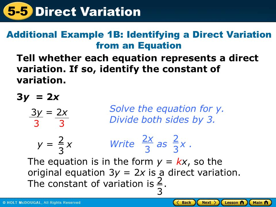 Additional Example 1B: Identifying a Direct Variation from an Equation