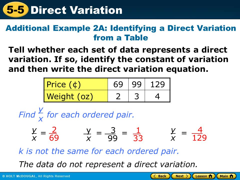 Additional Example 2A: Identifying a Direct Variation from a Table