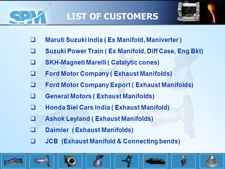 LIST OF CUSTOMERS Maruti Suzuki India ( Ex Manifold, Maniverter )