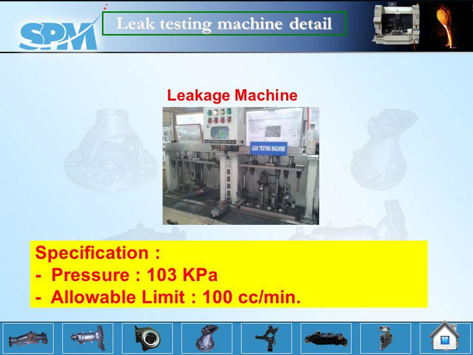 Leak testing machine detail