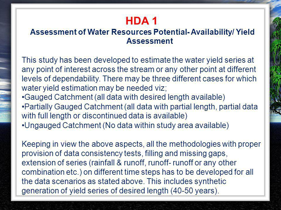 HDA 1 Assessment of Water Resources Potential- Availability/ Yield
