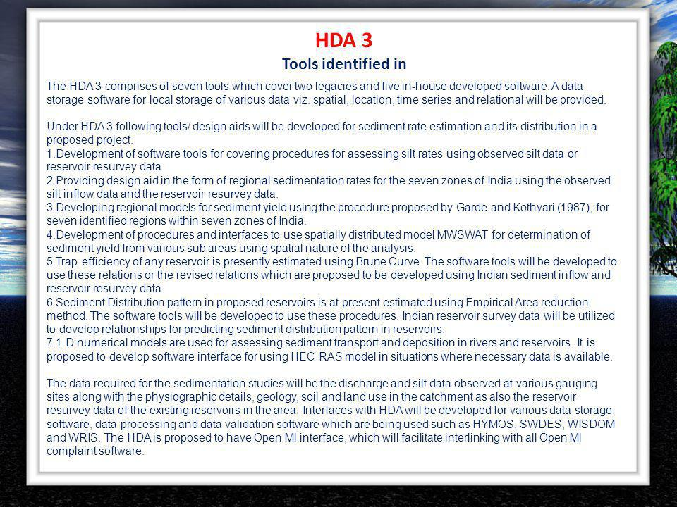HDA 3 Tools identified in