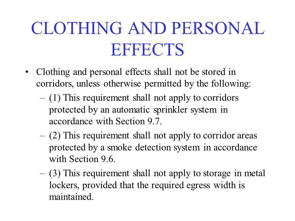 CLOTHING AND PERSONAL EFFECTS