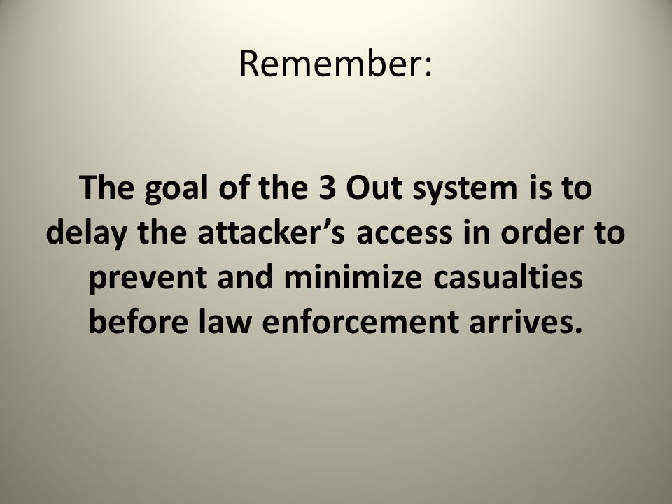 Remember: The goal of the 3 Out system is to delay the attacker's access in order to prevent and minimize casualties before law enforcement arrives.