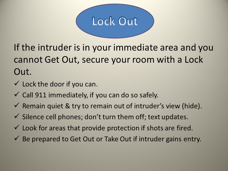 Lock Out If the intruder is in your immediate area and you cannot Get Out, secure your room with a Lock Out.