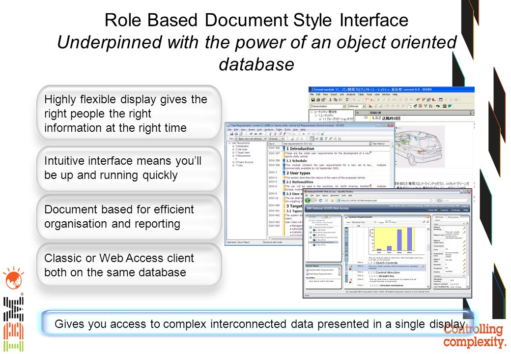 Role Based Document Style Interface Underpinned with the power of an object oriented database