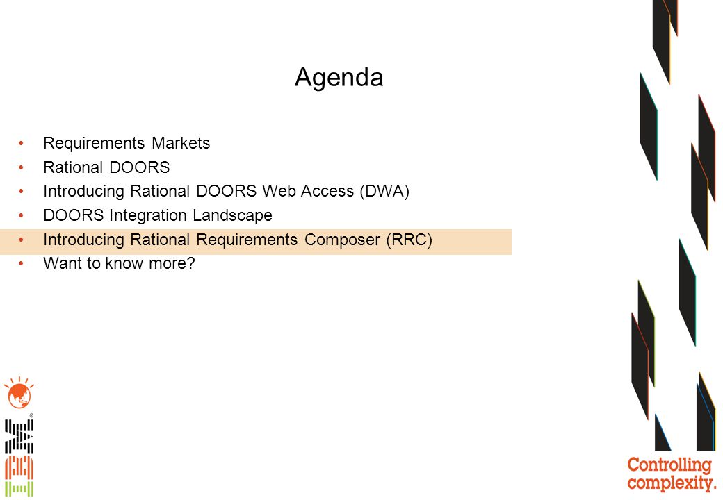 Agenda Requirements Markets Rational DOORS
