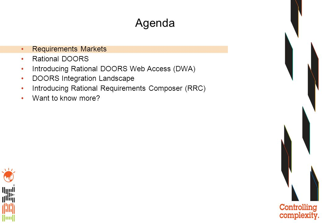 Agenda Requirements Markets Rational DOORS