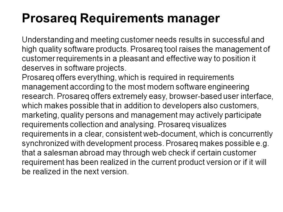 Prosareq Requirements manager
