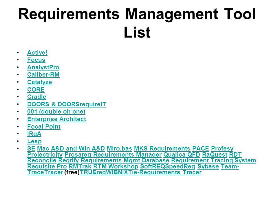 Requirements Management Tool List