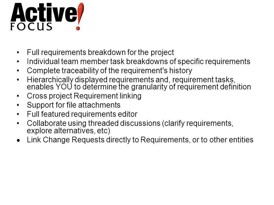 Full requirements breakdown for the project