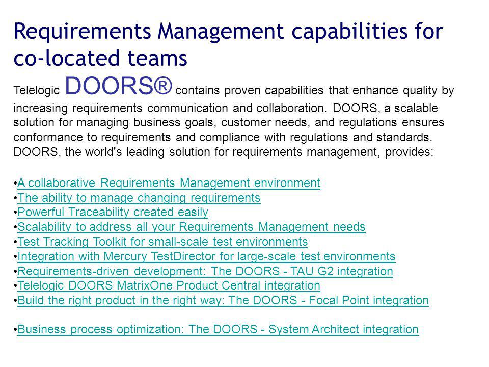 Requirements Management capabilities for co-located teams