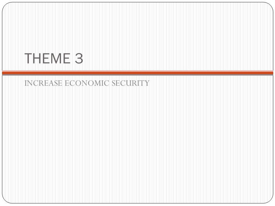 THEME 3 INCREASE ECONOMIC SECURITY
