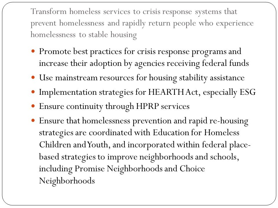 Use mainstream resources for housing stability assistance
