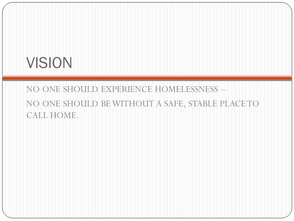 VISION NO ONE SHOULD EXPERIENCE HOMELESSNESS –