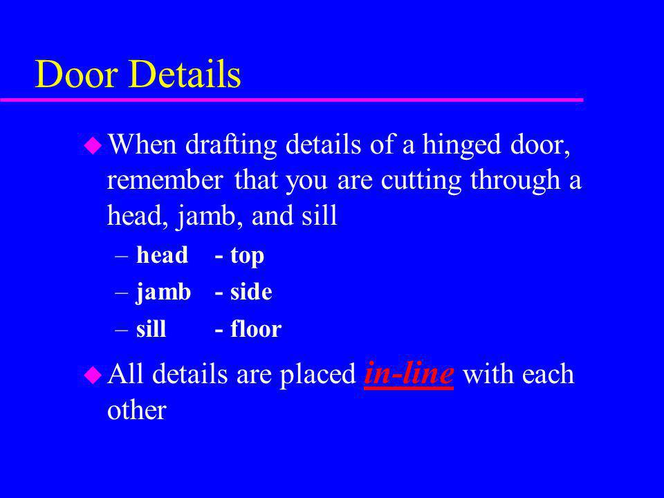 Door Details When drafting details of a hinged door, remember that you are cutting through a head, jamb, and sill.