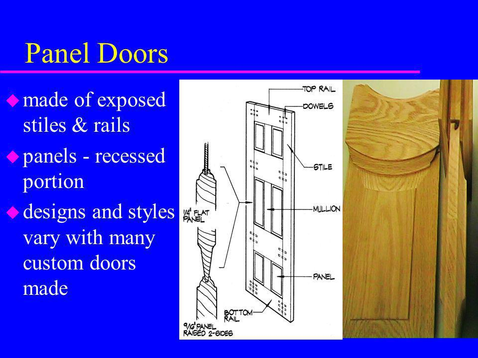 Panel Doors made of exposed stiles & rails panels - recessed portion