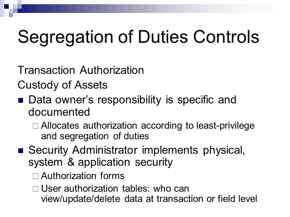 Segregation of Duties Controls
