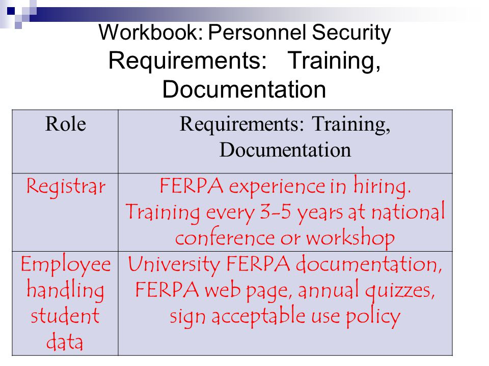 Workbook: Personnel Security Requirements: Training, Documentation