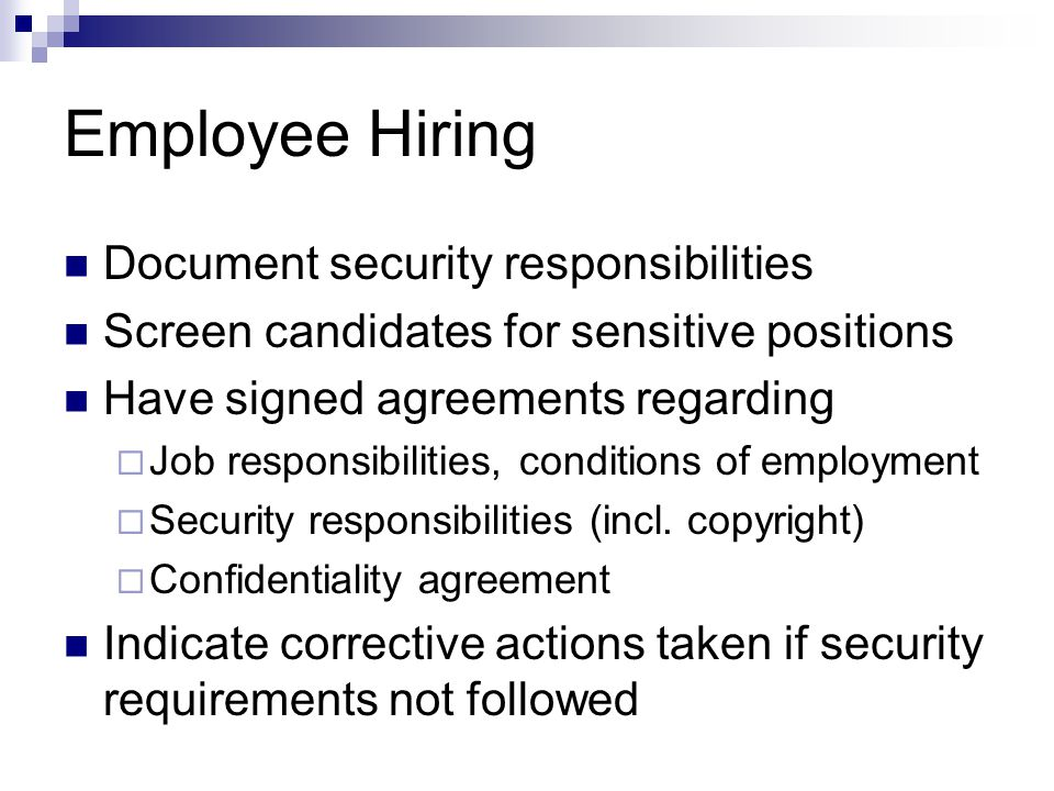 Employee Hiring Document security responsibilities