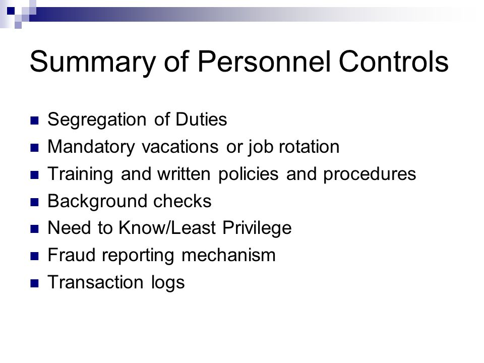 Summary of Personnel Controls